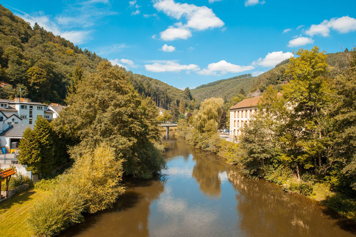 Vianden River Luxembourg Architecture Beauty In Nature Building Exterior Built Structure Cloud - Sky Day Mountain Nature No People Outdoors Reflection River Scenics Sky Tranquility Tree Vianden Water Waterfront