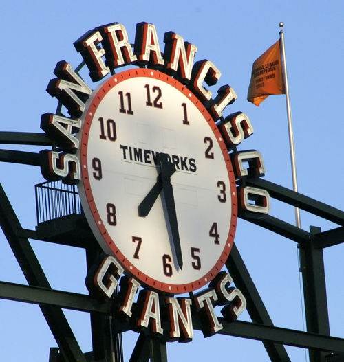 San Francisco Giants San Francisco, California Timeworks Baseball Field Blue Clear Sky Clock Clock Face Day Low Angle View Minute Hand No People Outdoors Roman Numeral Sky Sports Clock Time Investing In Quality Of Life
