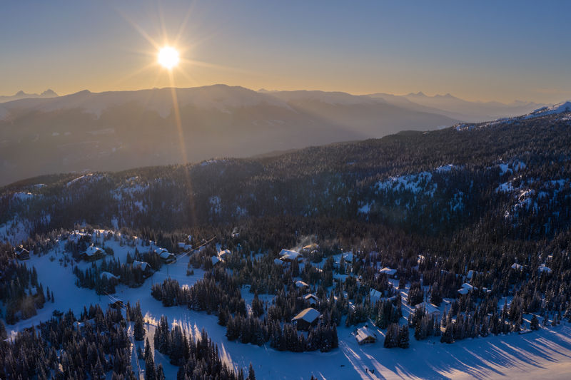 I have finally bitten the bullet and bought a Mavic 2 Pro Drone! Took this shot last weekend at sunset looking down over the ski village at Hudson Bay Mountain just outside of Smithers in Northern British Columbia, Canada. We have only a few months left in Canada and then will be moving on to the next phase of the endless adventure that is life. Winter Snow Cold Temperature Beauty In Nature Scenics - Nature Mountain Sky Sun Tranquility Sunset Tranquil Scene Nature Environment Sunlight Landscape Plant No People Mountain Range Outdoors Snowcapped Mountain Drone  Sun Star Aerial View Ski Resort  Hudson Bay Mountain