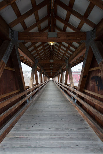 View Along Covered Truss Bridge