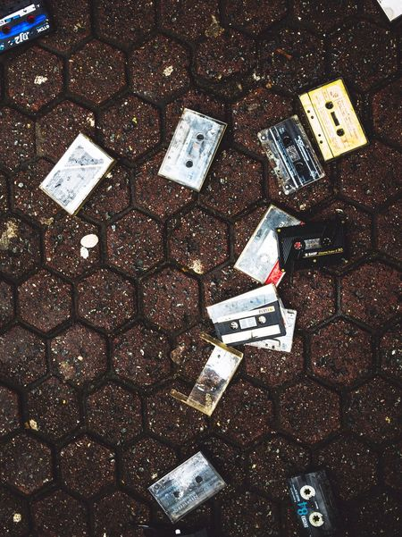 High Angle View No People Outdoors Day Close-up Broken Old Lost Recordings Records Music Industry Music Cassette Cassette Tapes Street