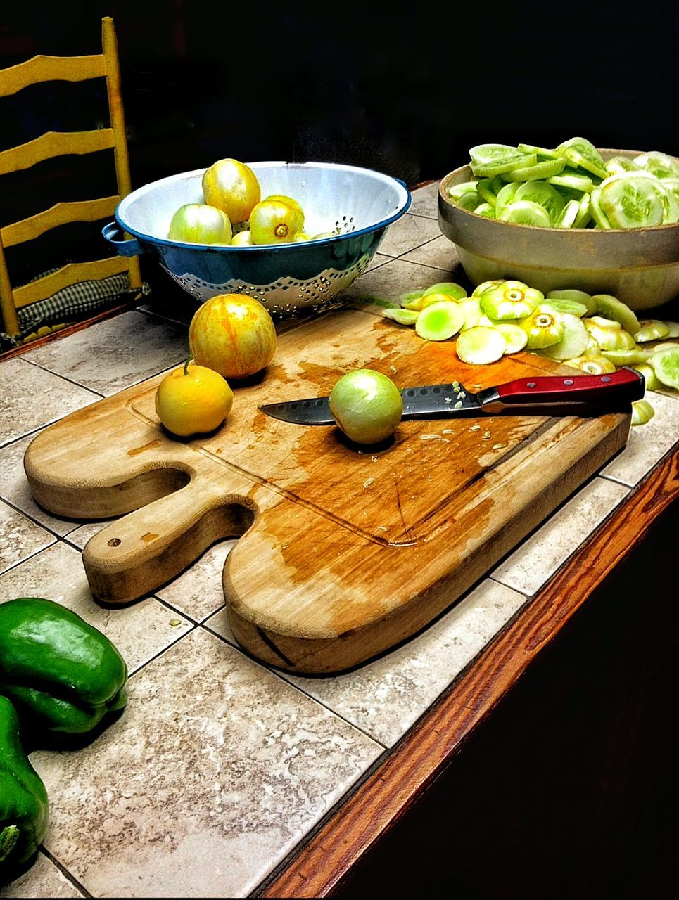Vegetables With Knife On Table At Home