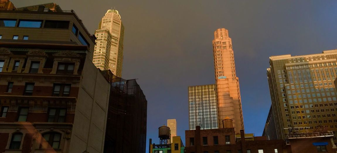 Low angle view of skyscrapers in city