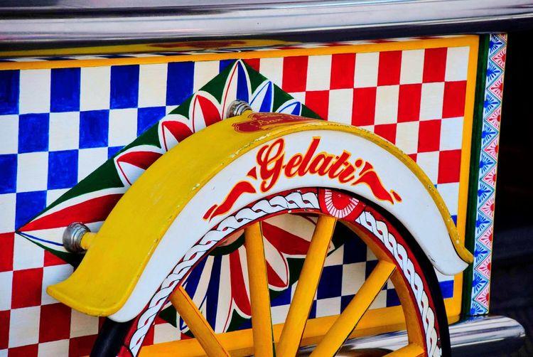 Wheel Gelati Multi Colored Ice Cream Colorful Italian Italy Sicilia Sicily No People Multi Colored Pattern Day Outdoors Striped Flag Close-up Design
