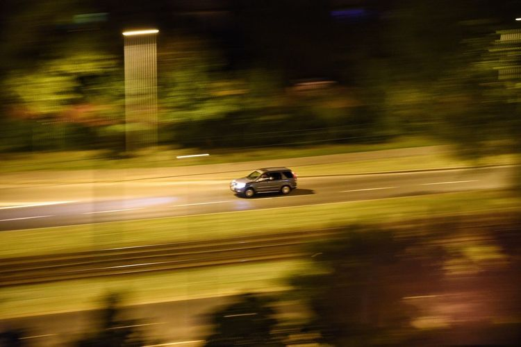 Panning Car Night Blurred Motion Speed SUV Road