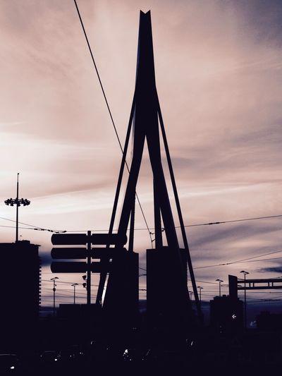 Silhouette erasmus bridge against sky during sunset in city