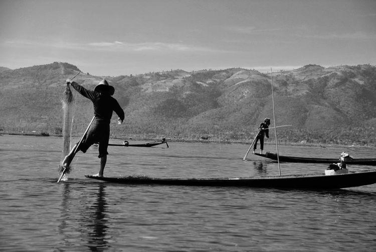 Fishermen fishing in inle lake