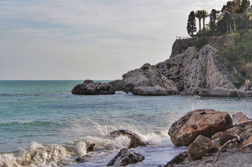 Beach Breaking Wave Breaking Waves Cliff Coastline Day Horizon Over Water Nerja Nerja Andalucia Nerja Coast Nerja Coastal View Nerja Coastline Rock Rock - Object Rock Formation Sea Shore Sky Surf Water Wave Wave Spray On Rocks