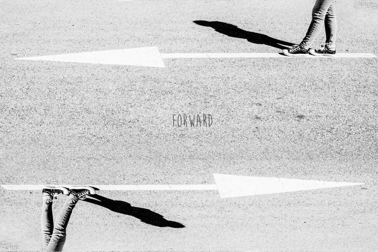 Forward Walk Arrow Direction Signal Way Road Sign Legs