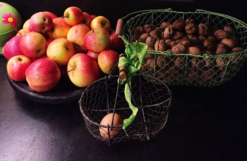 Autumn harvest Egg Walnut Apple EyeEm Selects Basket Fruit Food And Drink Healthy Eating Food Freshness Still Life Indoors