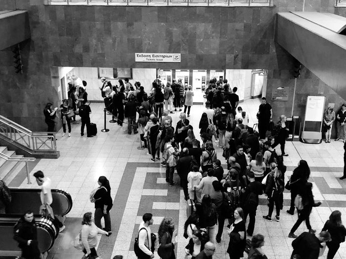 Blackandwhite Athens Waiting In Line Ticket Machines Metro Station Group Of People Crowd Large Group Of People Real People Women Men High Angle View Walking Transportation Mode Of Transportation Public Transportation Built Structure