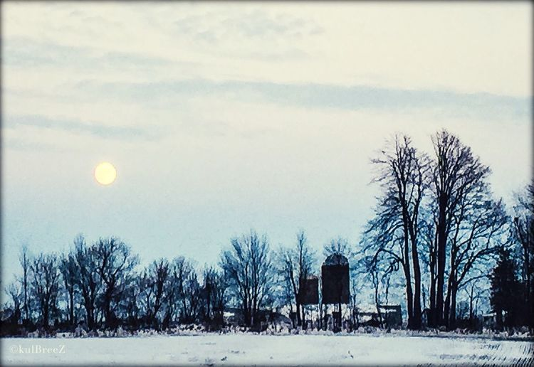 Silos, old barns, snow and a moon Field Rural Scene Sillouette Blue Horizon Dusk Showcase: November Full Moon StreamzooVille EyeEm Nature Lover Father Sky Moon
