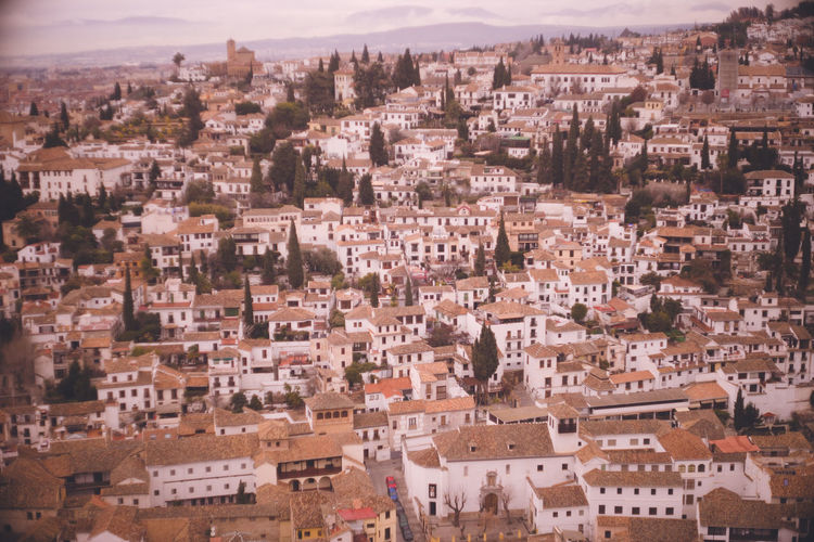 View of the albaicin district from the alhambra palace in granada, a world heritage site in spain