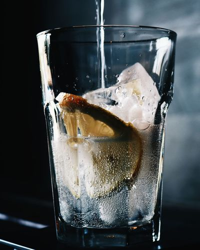 Close-up of ice cubes in glass