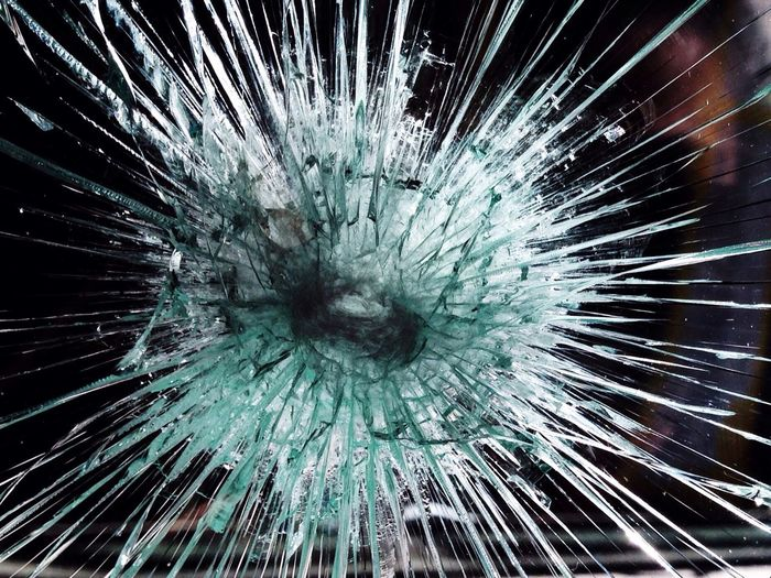 Close-up of cracked glass