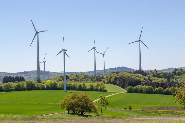 Environment Renewable Energy Alternative Energy Fuel And Power Generation Landscape Environmental Conservation Wind Turbine Turbine Field Wind Power Land Sky Plant Beauty In Nature Scenics - Nature Nature Tree Grass Day Green Color No People Outdoors Sustainable Resources Germany
