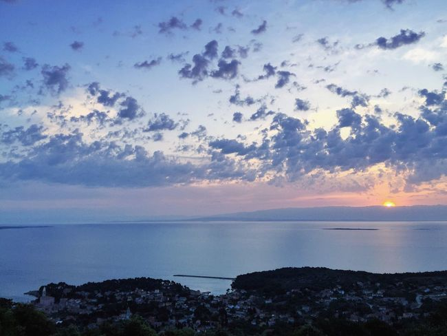 Sunrise over Veli Losinj, Croatia, 2015. Veli Lošinj Croatia Adriatic Mediterranean  Adriatic Sea Nature Landscape Seascape Environment Sealine Sunrise Cloud Sky Calming Views Copy Space Calming Serenity Tranquility Zen Peaceful Relaxing Vitality Healthy Health Organic