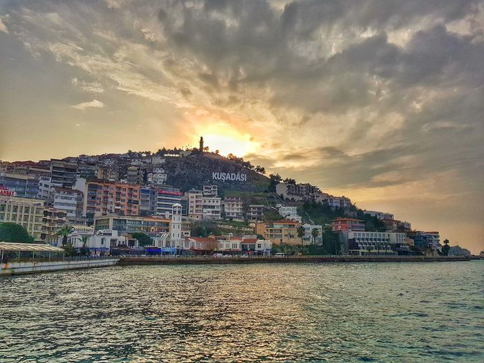 Kusadasi, Turkey Sunset Built Structure Architecture Sky Nature Mountain Multi Colored Beauty In Nature Building Exterior No People Sea Day Outdoors