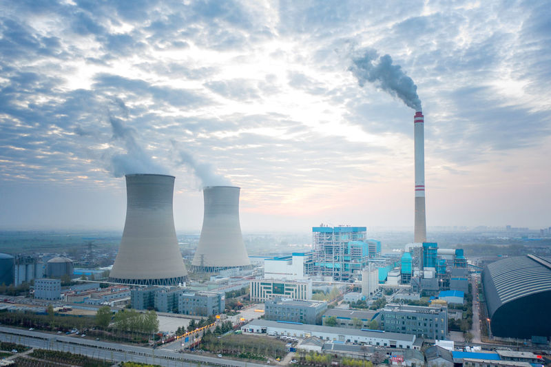 Aerial photo of sunrise of thermal power plant in zhengzhou city, henan province, china
