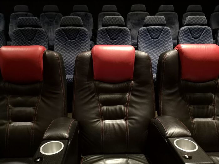 Empty Modern Seats Chairs Movie Theater Neat Backgrounds Luxury Studio Shot Black Color Red Arrangement Full Frame Seat Leather Auditorium Chair Theater In A Row Movie Theater