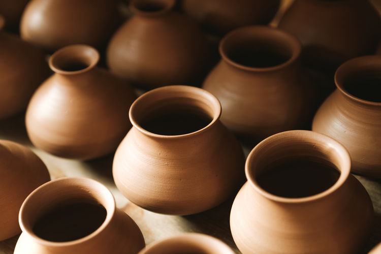 High Angle View Of Pottery