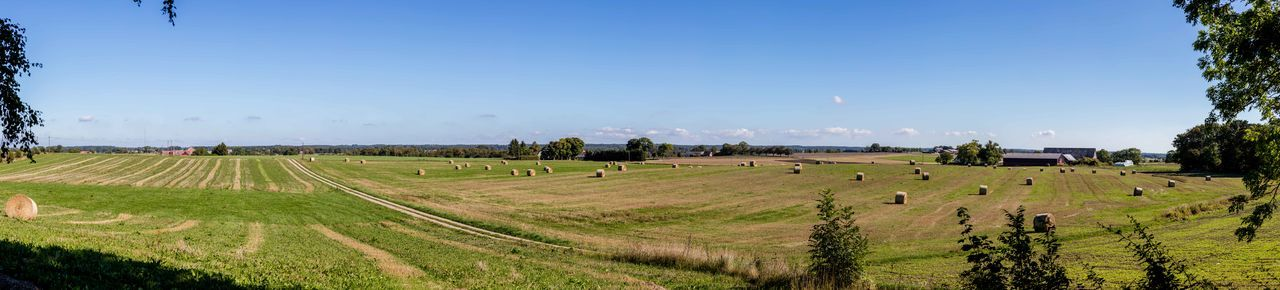 Agriculture Clear Sky Countryside Farm Land Field Hay Bales No People Outdoors Panorama Scenics Sunny Sweden
