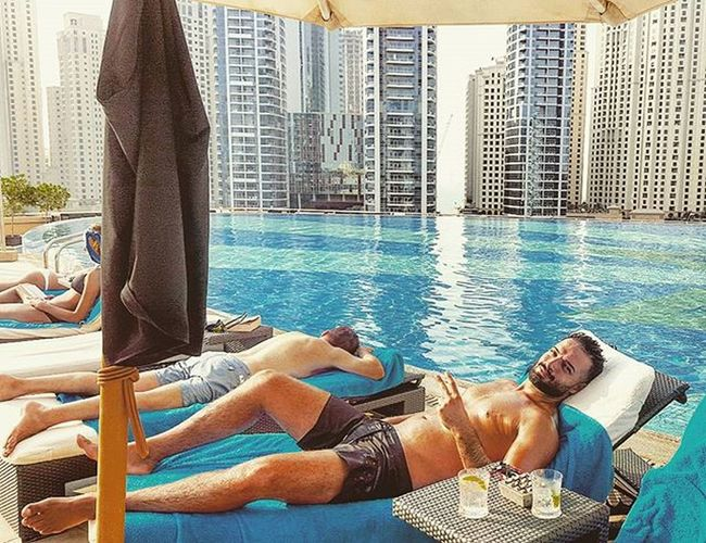 Doing what i do best 😄😄 Dubai Mydubai Dubaimarina Pool Swimwear Lifestyle Chillin Relaxed Sunbathing Tan Sun Holiday Vacation Hotel Resort Metime Happy GoodTimes Travel Getaway  Cocktails Beard Photography Instapic Instagood like4like instadaily