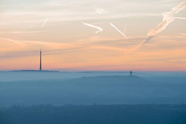 Britain Castle Hill Dawn Emley Moor Huddersfield Landscape Mast Mist No People Outdoors Scenics Silhouette Sky Vapor Trail West Yorkshire