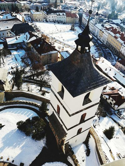 Tower Tower Castle Kremnica Trip Sunny Snow Cold Temperature Backgrounds Full Frame Abstract Pattern Winter