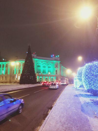 ТИУ Night Illuminated Christmas Lights Christmas christmas tree Built Structure Architecture