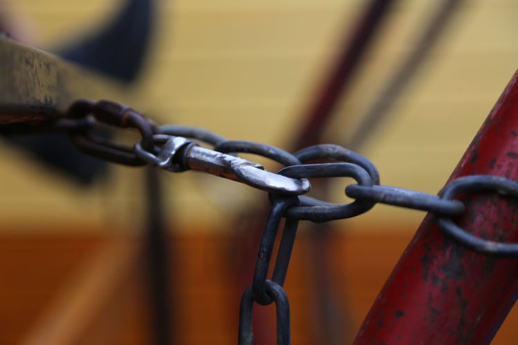 Close-up of carabiner connected to chains