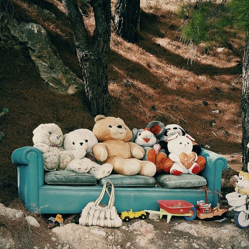 Abandoned Animal Representation Art And Craft Childhood Chios Couch Depressing Doll Forest GREECE ♥♥ Greek Islands No People Outdoors Stuffed Toy Teddy Bear Toy Weird