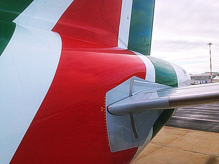 Detail fuselage, vertical and horizontal stabiliser of Alitalia Airbus 319, fly AZ423, at the airport of Berlin Tegel