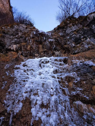 Val Zemola Low-angle Shot Hiking Frost Frozen Waterfalls No People Nature Outdoors Full Frame Day Snow Sky Mountain Cold Temperature Winter Beauty In Nature Water