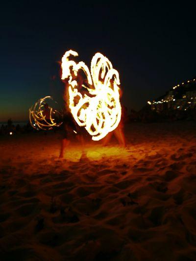Fire dancing at Clifton 2nd Beach Night Outdoors Nature Fire FireDancers Sea Beachlovers