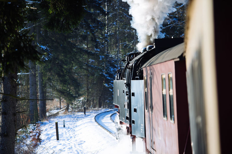 Beauty In Nature Brockenbahn Cold Temperature Day Frozen Harz Locomotive Mode Of Transport Nature No People Outdoors Public Transportation Rail Transportation Railroad Track Sky Smoke - Physical Structure Snow Snowdrift Steam Train Train - Vehicle Transportation Tree Weather White Color Winter