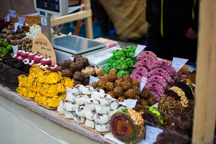 Sweet food at market stall