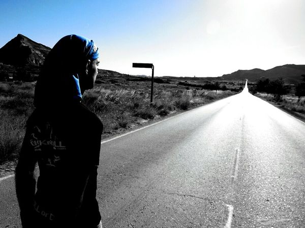 BYOPaper! One Person Rear View Adults Only Adult People Road Adventure Outdoors Headwear Cold Temperature Day Sky Nature Alicante, Spain Patinaje Rolki Summer