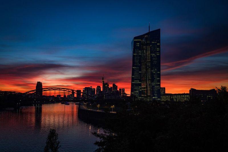 Frankfurt Skyline and European Central Bank Urban Skyline Cloud - Sky
