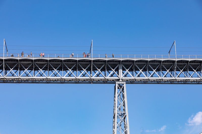 Port Luis bridge in Porto Architecture Blue Bridge Bridge - Man Made Structure Building Exterior Built Structure Clear Sky Connection Copy Space Day Girder Low Angle View Metal Nature No People Outdoors Sky Sunlight Transportation
