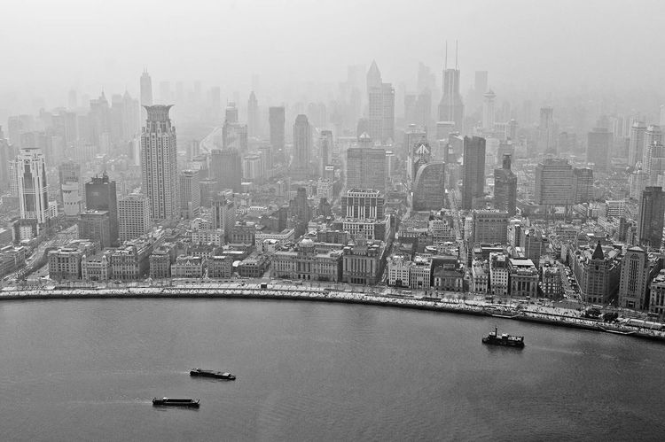 Shanghai China City Cityscapes Cityscape Smog Foggy Metropolis River Huangpu River View From Above Aerial Shot Aerial View Skyline Skyscraper Skyscrapers How Do You See Climate Change? Learn & Shoot: Leading Lines Blackandwhite Black And White Bnw Climate Climatechange Battle Of The Cities A Bird's Eye View