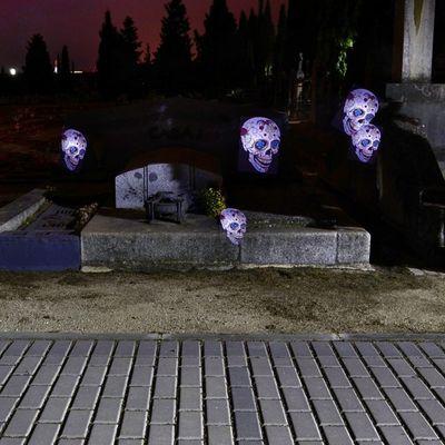 Apariciones en el Cementerio de Zaragoza Igersaragon Igerszgz Calavera Tumba lightpainting Fez GozArte @fotoenzaragoza