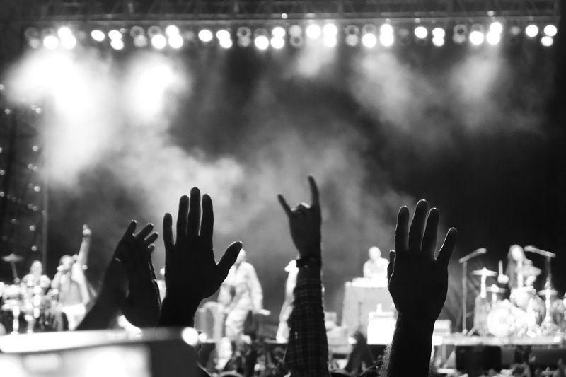 People with hand raised enjoying music in rock concert