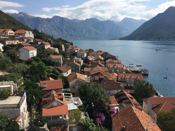 PERAST Montenegro Travel Destination Landscape Bay Nature View Town Mountain View From Above