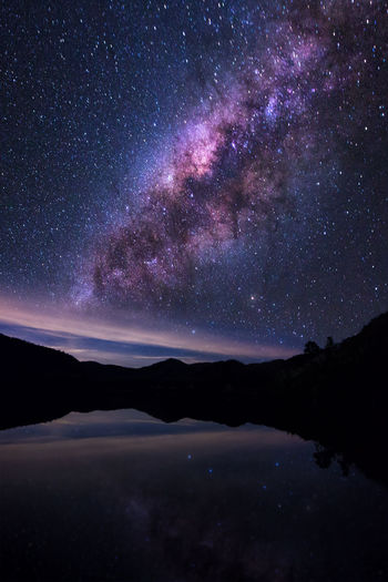 Scenic View Of Calm Lake Against Star Field