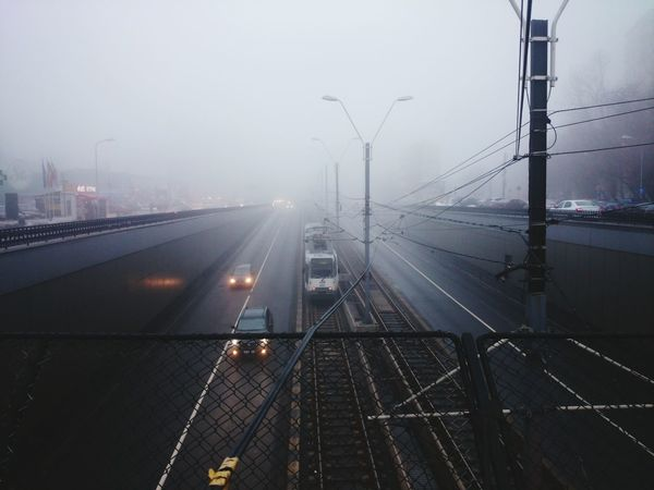XPERIA Xperiaphotography Sony Xperia Bridge XperiaZ1 Travel Photography Bucharest Urbanphotography Fog Foggy Day Foggy Foggy Weather Tram Traffic Foggy Road