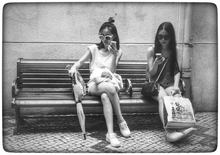 Black & White Macau Photos Macau Black And White Street Photography Two Girls Bench Sunglasses 澳门