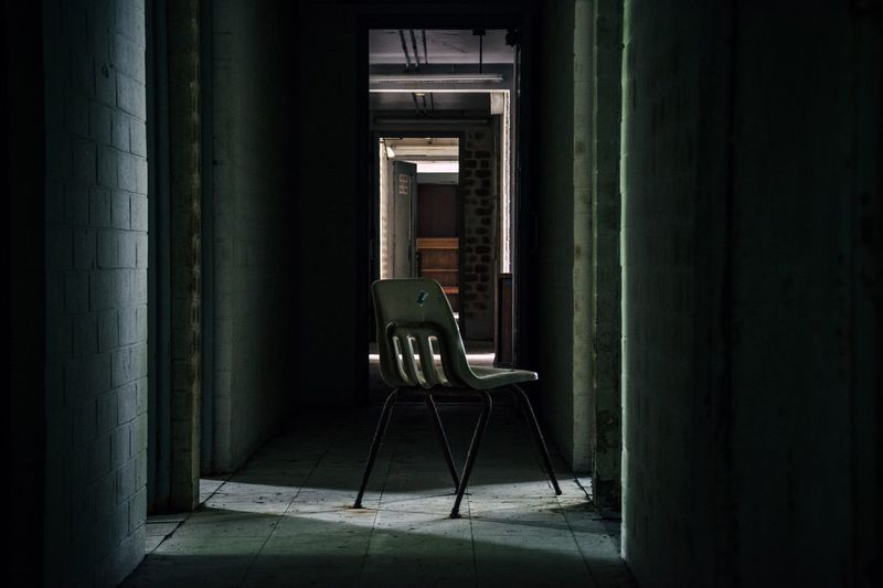 Empty chair in abandoned room