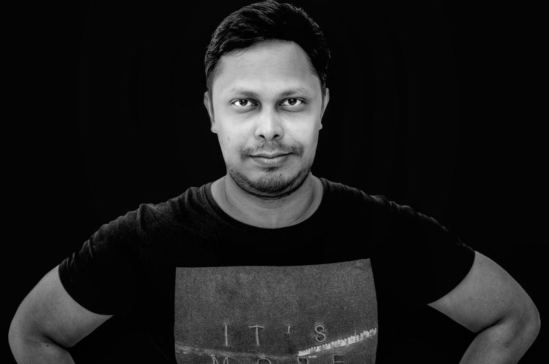 Portrait Looking At Camera Black Background Black Color Handsome Front View Only Men One Person Indoors