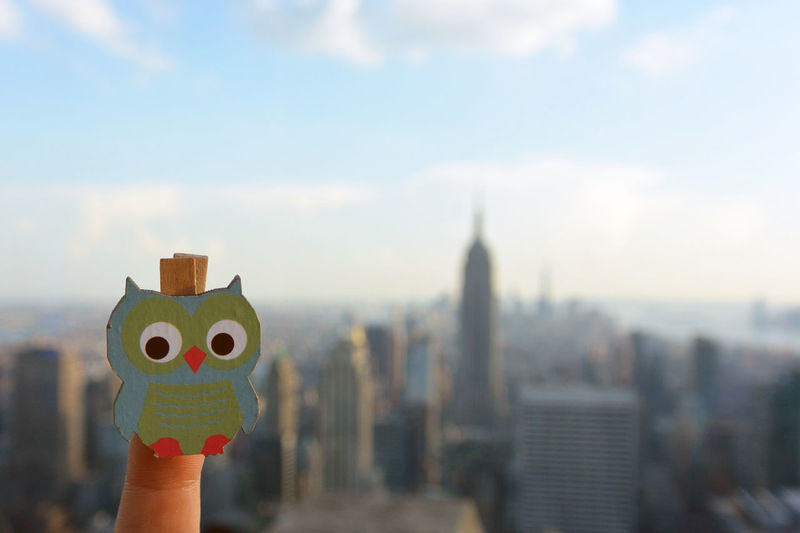 Wooden owl in NYC NYC Skyline Student Trip Youth Above Adventure Architecture Aupair Blurred Background Built Structure Childhood Clever Day Experience Focus On Foreground Graduate Holding Lifestyles Owl Rise Sky Trip Photo Up Vacation